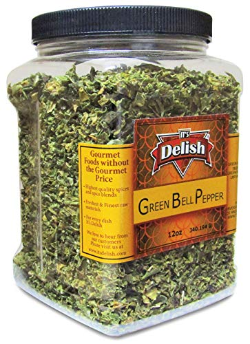Dehydrated Dried Green Bell Pepper by It's Delish – Jumbo Reusable Container 12 Oz – Sealed to Maintain Freshness – Chopped & Dried Vegetable Spice Seasoning