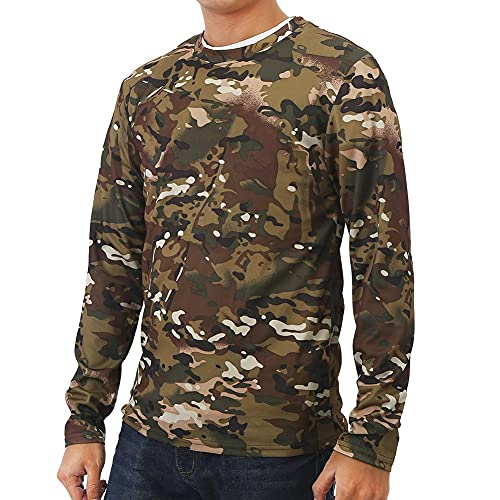 T-shirt à manches longues, 3 tailles différentes pour homme à manches longues col rond T-shirt Vêtements pour le camping Sports de plein air