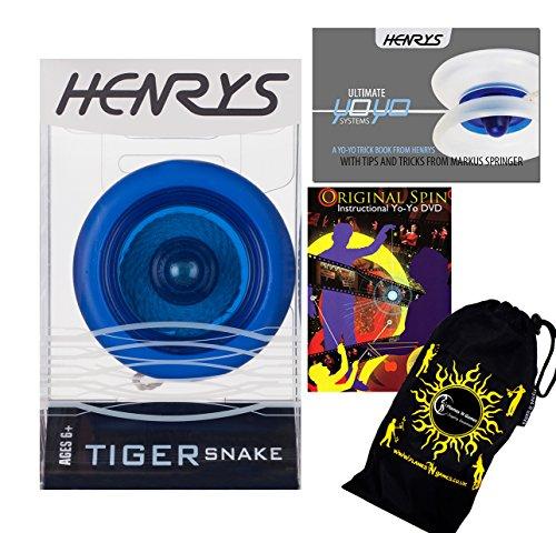 Henrys TIGER SNAKE YoYo (Bleu) Looping Trick (2A) Professionnelle Roulement Yo Yo + livre d'instruction de trucs + 75 Yo-Yo Tricks DVD (en anglais) + sac de voyage! Pro Yo-Yo pour les enfants et les adultes!