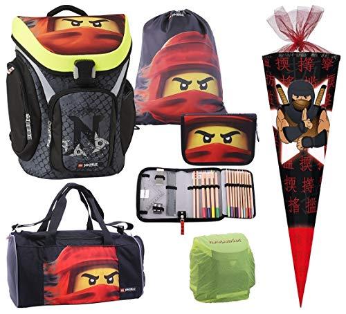 Familando Lego Schulranzen Explorer mit Lego Ninjago Motiv Team roter Ninja Kai 6 TLG. Set mit Federmappe, Sporttasche, Schultüte 85cm und Regenschutz Spinjitzu Lloyd Schulranzen-Set