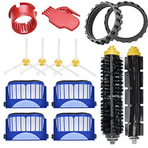 JoyBros 12-Pack Replacement Parts Accessories Compatible for iRobot Roomba 675 670 665 690 692 671 677 650 655 614 ONLY,Anti-Skip Rubber Wheel Tires Side Main Roller Brush Filter