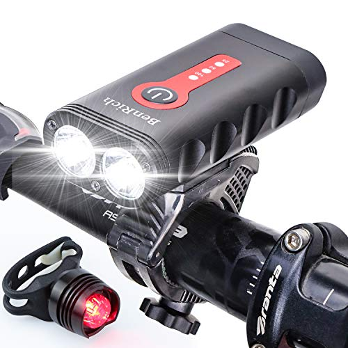 BenRich Bike Lights Set Rechargeable, 2400 Lumens Bicycle Lights Front and Rear, 5 Lighting Modes Super Bright IP65 Waterproof Rotatable Night lights with 4400mAh Battery, for Mountain & Road Bikes