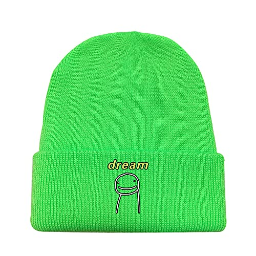 LemonLip Beanie Dreamwastaken Dream Smile Merch Men Women Knit Hat Soft Warm Stocking Hats Sleep Cap Skull Caps Unisex (Green B,One Size)
