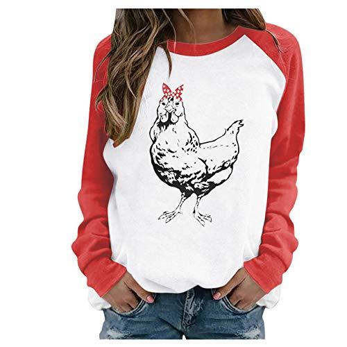 Katzen-Druck, Kapuzen-Sweatshirt, Damen, Valentinstag, Sweatshirt, Hoodies aus Baumwolle, große Größe, Sportjacke mit langen Taschen, Tops, Bluse, T-Shirt, Streetwear Gr. l, Rot 7
