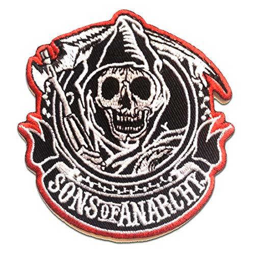 Parches - Son of Anarchy motocicleta Biker Club Original - negro - 8x8.2cm - termoadhesivos bordados aplique para ropa