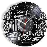 KDBWYC Disco de Vinilo Reloj de Pared Cerveza de Trigo Reloj de Pared Vaso de Cerveza Barra de Espuma y Cerveza Sala de Estar Dormitorio decoración Reloj de Pared