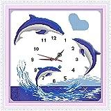 punto de cruz kits amantes de los delfines Relojes contados DIY hecho a mano...