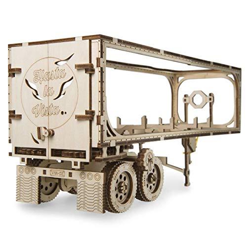 UGEARS Truck Trailer LKW Anhänger DIY Modellbausatz aus Holz – Anhänger für Schweren LKW - Sperrholz DIY Modell Zubehör – VM-03 LKW Anhänger – Funktionaler Mechanismus –Selbstmontage ohne Kleber