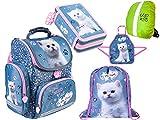 My Little Friend Katze Schulranzen Set 5 - teilig ergonomischer Schulranzen Ranzen, Federmappe,Turnbeutel, Malschürze, Regenschutz 1. - 3. Klasse Cat