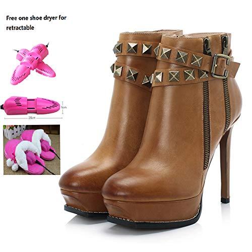 Vrouwen enkellaarzen met klinknagel riem gesp, inclusief een gratis intrekbare schoen droger