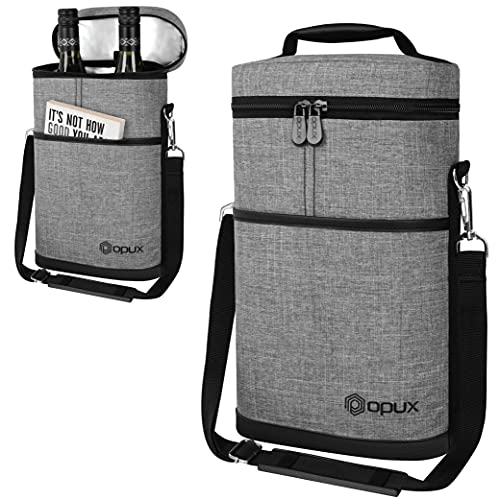 OPUX Insulated 2 Bottle Wine Tote Carrier | Padded Wine Cooler Bag for Travel Picnic BYOB | Portable Wine Bag with Shoulder Strap and Carry Handle, Wine Gifts - Heather Grey