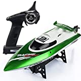 KRCT 2.4GHz 4 Channel Professional Remote Control Boat 35km/h High Speed RC Yacht Toy with Self Righting Rechargeable Electric Remote Control Boats for Pools & Lakes (Color : Green, Size : 5 Battery)