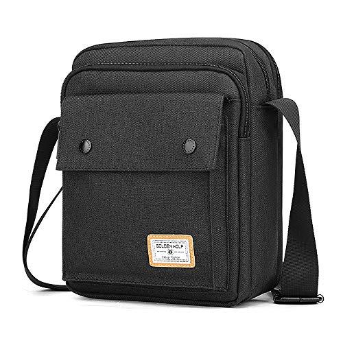 BAIGIO Borsello Uomo Tracolla Sport, Borsa a Tracolla Messenger Bag Impermeabile Borsa a Spalla Casual Lavoro Viaggio per Ipad 9.7 Pollici (Nero-1)