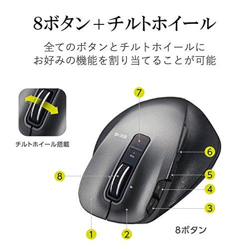 エレコムマウスワイヤレス(レシーバー付属)Mサイズ8ボタン静音レーザー握りの極みブラックM-XGM20DLSBK
