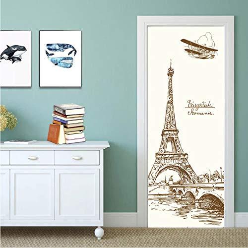 lili-nice Tour Eiffel Style Simple par Autocollants Autocollants par Décoration Murale Décor Art Décalque pour Acier en Bois par Rénovation 77 * 200Cm
