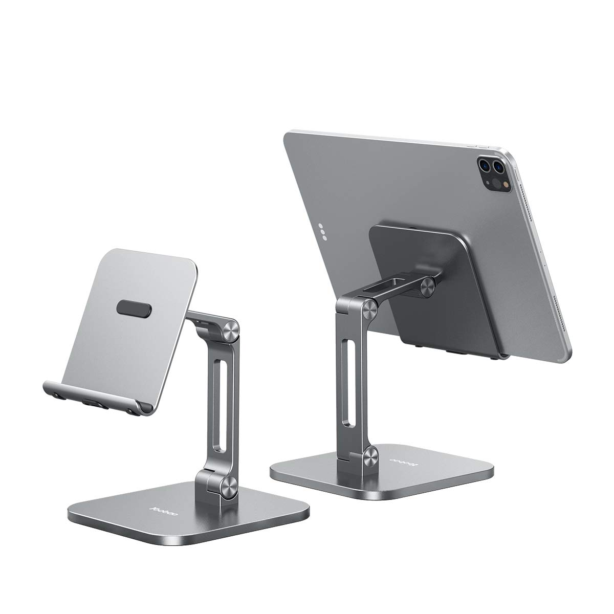 Yoobao Tablet Stand Multi-Angle Tablet Holder Desktop iPad Stand Adjustable& Foldable Aluminum Cell Phone Stand for 4-13'' iPad Pro Air Mini Kindle iPhone 11 Pro XR Xs Max& More-Gray