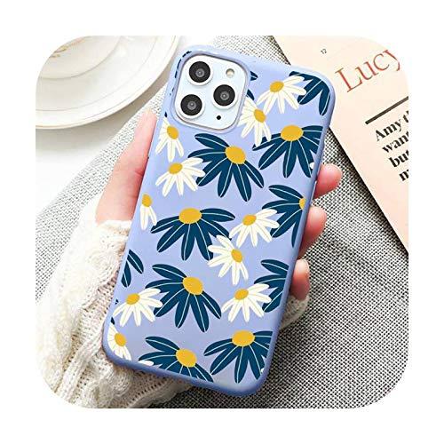 Funda para teléfono móvil con diseño de margaritas de dibujos animados color azul para iPhone 11 12 Pro XS MAX 8 7 6 6S Plus X 5S SE 2020 XR-a5-iPhone12 mini