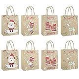 Set di 8 sacchetti di carta natalizi assortiti con manici, per shopping, merci, feste, matrimoni, affari, fiere artigianali, regali, 32 x 12 x 26 cm