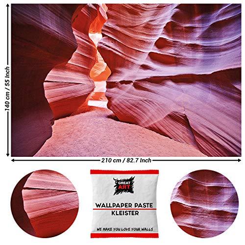 Great Art wanddecoratie Antelope Canyon fotobehang - Slot Canyon woestijn USA Poster 210 x 140 cm - 5 Teile + Kleister Antilope