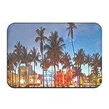 Miami Beach Florida Hotels Restaurants At Sunset Felpudo para puerta de entrada, alfombra de piso para interior/exterior/puerta delantera/cuarto de baño alfombrillas de goma antideslizante 60 x 40 cm
