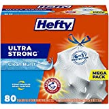 Hefty Ultra Strong Tall Kitchen Trash Bags, Clean Burst Scent, 13 Gallon, 80 Count (Packaging May Vary)