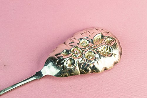 Elegant Antique Cutlery SERVING SPOON Floral Victorian Silver Plated Metal Large Table Unique English Circa 1900 LS