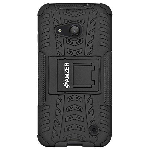 Amzer Schutzhülle für Microsoft Lumia 550, stoßfest, mit Standfunktion, Schwarz