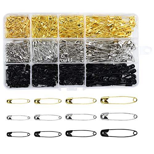 AvoDovA 540PCS Imperdibles de Seguridad con Cajas de Plástico, Pin Accesorios de Costura, Imperdibles Broches, Metal Alfileres de Seguridad para Coser Ropa, Joyería de Costura (48, 38, 22, 19mm)