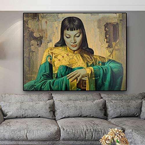 wojinbao Poster di Arte nordicaTretchikoff Lady from Orient Riproduzione Olio su Tela Poster e Stampe Immagine murale scandinava per Soggiorno