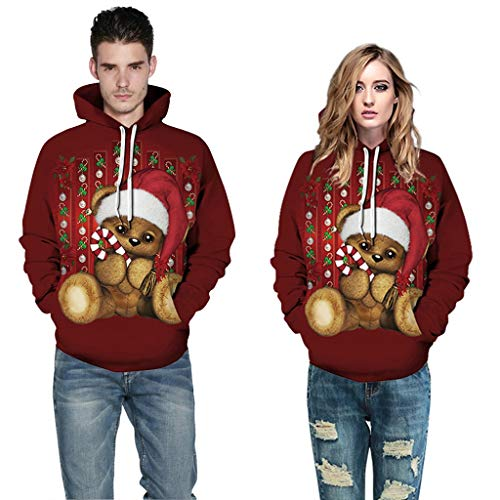 Couples Christmas Sweatshirts GREFER Stylish Cute Animal Printed 3D Sweaters Plus Size Hoodies Pullover for Women Men Wine