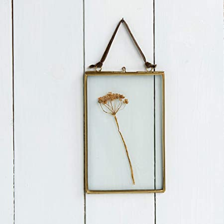 Art India Collections Home Decor 2 Sides Glass & Metal Hanging Picture Frame (5 x 7 inch, Golden)