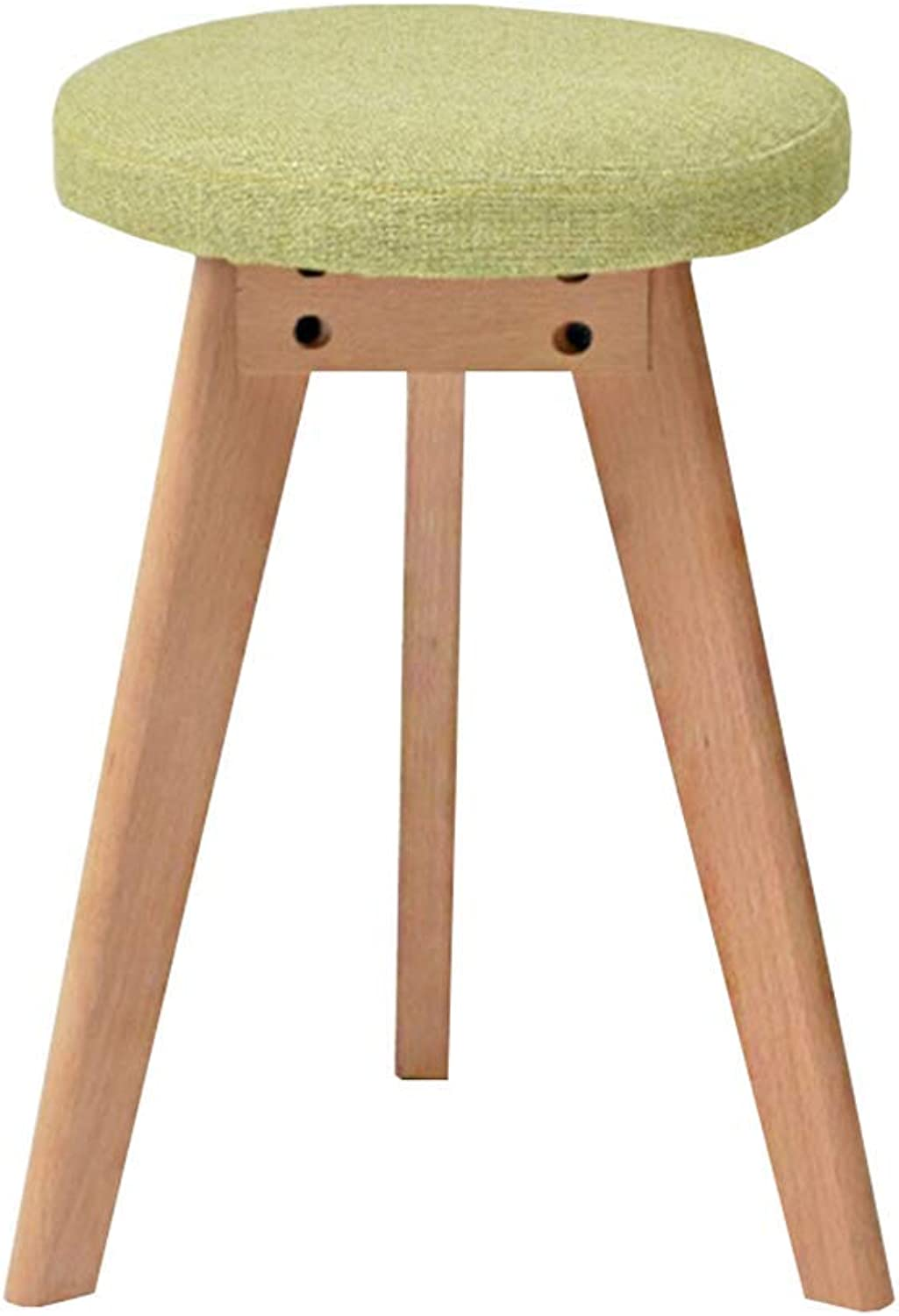 ZHAOYONGLI Stool Modern Minimalist Home Table Stool Fashion Nordic Small Bench Solid Wood Footstool Round Stool Creative Solid Durable Long Lasting (color   Matcha-Green, Size   40  45cm)