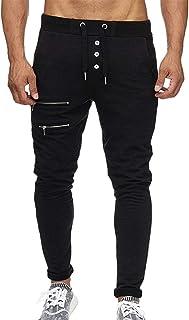 LandFox,Mens Fashion Pure Color Trousers Pants Casual Holes Pants Sweatpants,Black,
