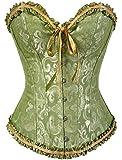 Women's Lacing Corset Top Satin Floral Boned Overbust Body Shaper Bustier Green S