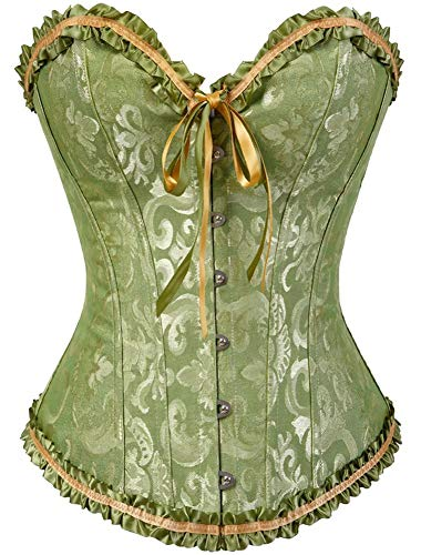 Women's Lacing Corset Top Satin Floral Boned Overbust Body Shaper Bustier Green M