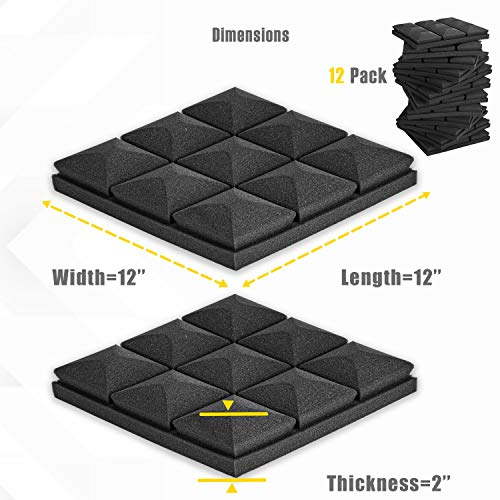12 Pack - Acoustic Foam Panels, 2