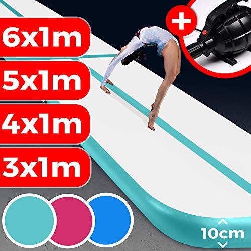 AIR Matte TRACK - aufblasbar, Tumbling Matte 10 cm hoch, mit elektrischer Pumpe, PVC, Farbwahl, Größenwahl: 3 4 5 6 m - Tumblingmatte , Gymnastikmatte, Turnmatte, Trainingsmatte, Fitnessmatte