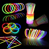 144 PCs Glow Sticks Bulk for Glowstick Party Favors, Colorful Neon Glow in The Dark Necklace & Bracelet Supplies, Birthday Christmas Halloween Party Disco Supplies, 4th of July & Independent Day