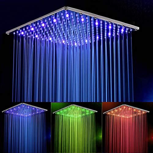 sxType LED vierkante douchekop, regendouchekop voor badkamer led, 16 inch vierkant zonder douchearm 3 kleurverandering, waterbesparend, verchroomd voor badkamer