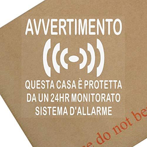 Platina plaats 6 x Avvertimento Questa Casa è Protetta Da Un 24 uur Monitorato Sistema D'Allarme-Finestra Etichetta