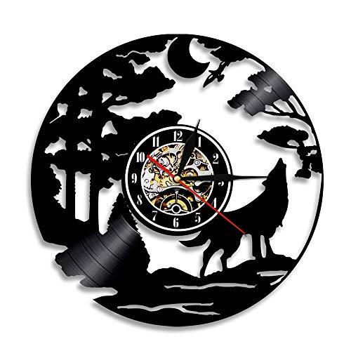 LED 7 Farben Wanduhren Wolf Silhouette 3D Wolf Howing Wildlife Tier Vinyl Schallplatte Handgefertigte Wohnzimmer Interior Art Decor mit Licht