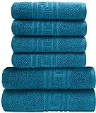 PH Pleasant Home Badezimmer Handtucher-Set 6teilig – 2 Badehandtücher & 4 Handtücher – 100% Baumwolle – 520 g/m² – griechischer Schlüsselrand – Weich & Saugfähig (Blaugrün)