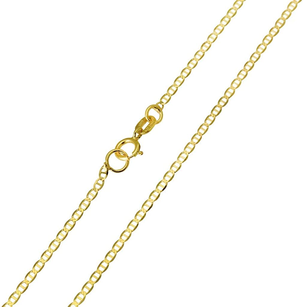 Authentic 10K Gold Flat Mariner, 1.5MM Marina Anchor Link Chain Necklace, Boys Girls Women, Dainty Thin Necklace 16-30