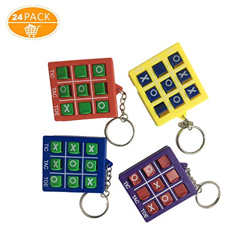 24 Pieces Tic Tac Toe Keychain for Kids,Durable Plastic Keyholders for Mini Backpack Clip Keyring for Bag and pencil cases,Birthday Gift,Educational Tool,Tic Tac Toe Party Favor,Party Gift Boy Girl Back to School Item