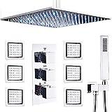 AYIVG Bathroom Brass Thermostatic Shower System Chrome 16 Inch...