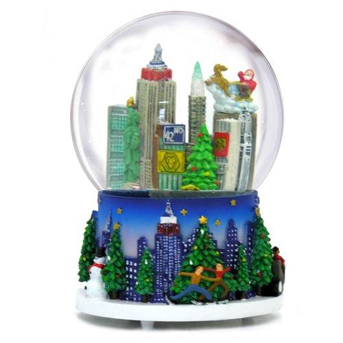 5.25 Inch Musical New York City Christmas Snow Globe and Rockefeller Center Skyline NYC Snow Globes