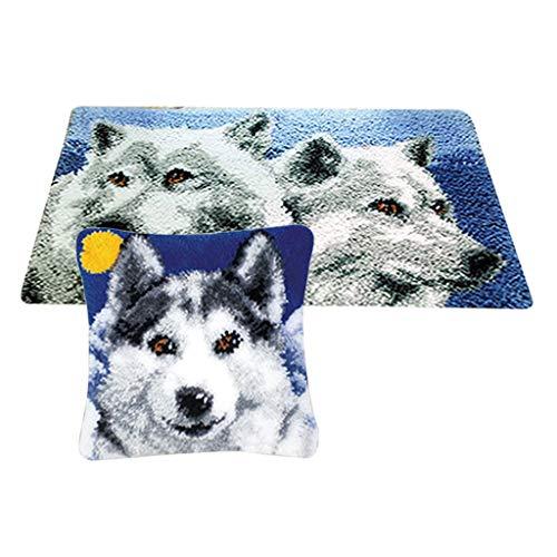 perfk 2 Sets Wolf-Muster Knüpfteppich DIY Handwerk Knüpfpackung zum Selber Knüpfen Teppich für Kinder, Erwachsene