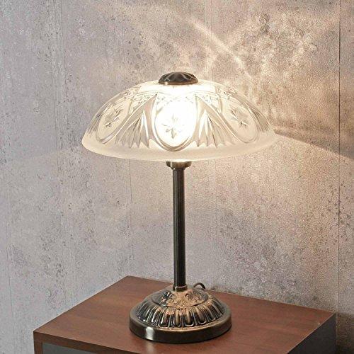 Hochwertige Tischlampe in Bronze Jugendstil inkl. 1x 3W E14 LED Nachttischleuchte Metall & Glas für Wohnzimmer Schlafzimmer Beleuchtung