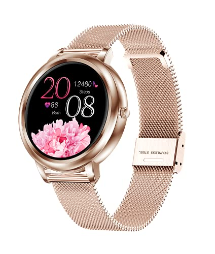 Pipishoop G9 Smart Watch for Women Bluetooth Fitness Tracker with Heart Rate Sleep Blood Pressure Monitor Calories Pedometer Sports Activity Tracker Smartwatchs IP67 Waterproof Full Touch (Gold)
