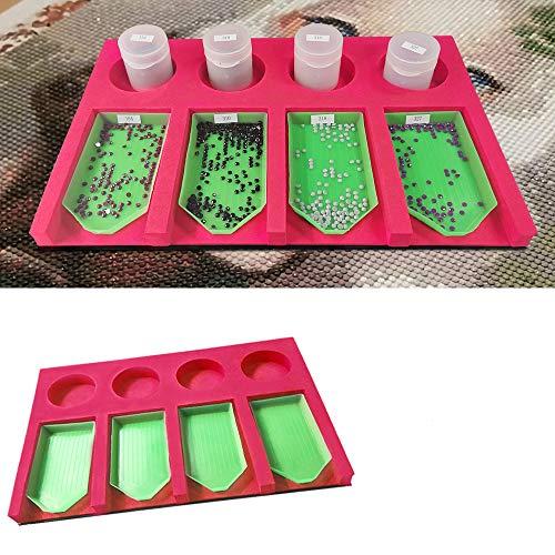 5D Diamond Painting Tray Organizer, DIY Diamant Malerei Tools für Erwachsene, Diamond Arts Zubehör-Kit mit 4 Steckplätzen für Bohrschalen
